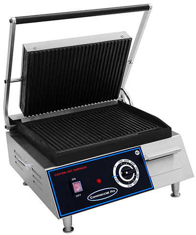 Commercial Pro CPPGM2 208V Panini Grill - Medium, Grooved Plate 208-240v