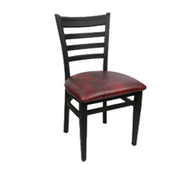 Carroll Chair 2-514GR2BLACK Ladder Back Dining Cafe Chair w/ Square Tube Construction, Grade 2, Black