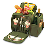 Picnic Time 508-23-123-000-0 Deluxe Picnic Service for Two - Insulated Cooler, Adjustable Strap, Hunter Green
