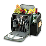 Picnic Time 508-23-175-000-0 Deluxe Picnic Service for Two - Insulated Cooler, Adjustable Strap, Black