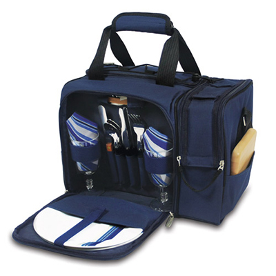Picnic Time 508-23-915-000-0 Deluxe Picnic Service for Two - Insulated Cooler, Adjustable Strap, Navy