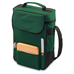 Picnic Time 623-04-121-000-0 Duet Wine Bottle Tote - 2-Compartment, Adjustable Strap, Hunter Green