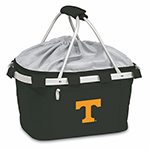 Picnic Time 645-00-175-552-0 Collapsible Metro Basket - Water Resistant, Drawstring, Embroidered Logo, Black