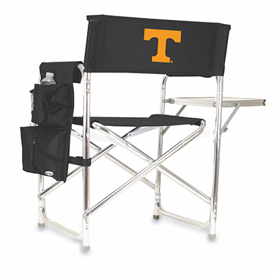 Picnic Time 809-00-179-552-0 Portable Sports Chair - 300-lb Capacity, Fold-Out Side Table, Logo on Black
