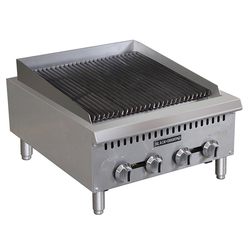 "Black Diamond BDCTC-24 24"" Countertop Charbroiler - Heavy Duty, 80,000 BTU, Stainless, NG"