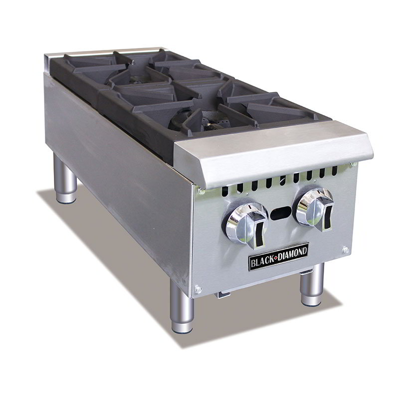 Black Diamond BDCTH-12 2-Burner Hot Plate - Heavy Duty, 50,000 BTU, Stainless