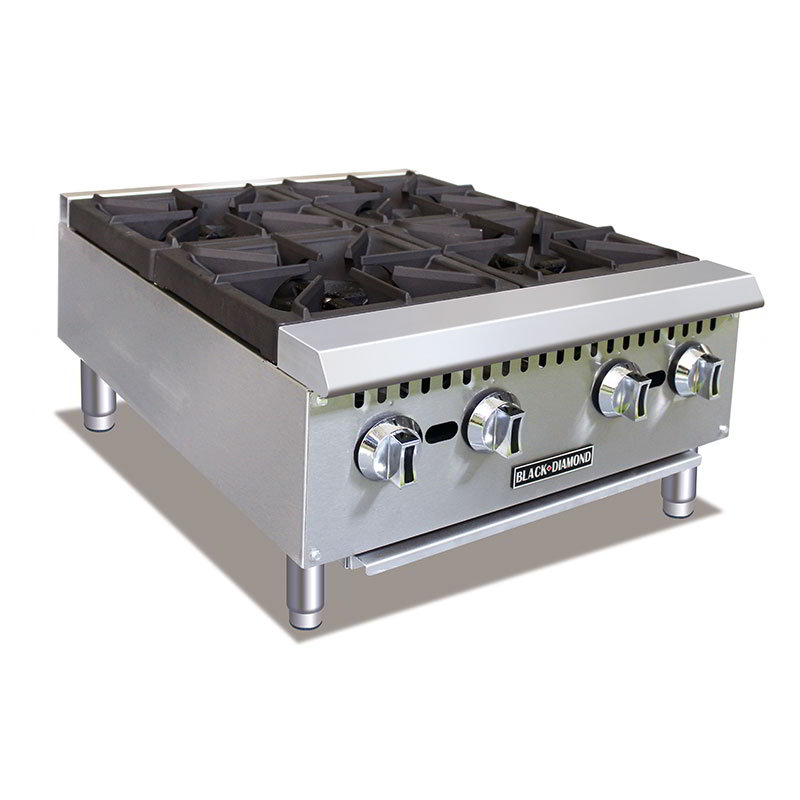 Black Diamond BDCTH-24 4-Burner Hot Plate - Heavy Duty, 100,000 BTU, Stainless, NG