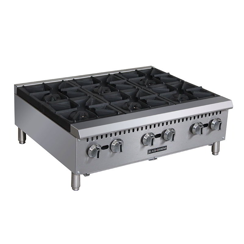 Black Diamond BDCTH-36 6-Burner Countertop Hotplate - Heavy Duty, 150,000 BTU,Stainless, NG