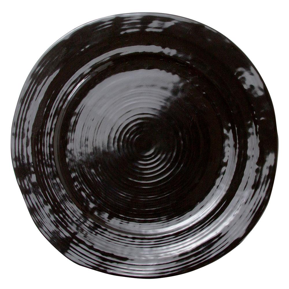"Elite Global Solutions D1134-B 11.75"" Round Della Terra Plate - Melamine, Black"