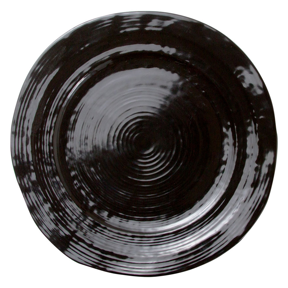 "Elite Global Solutions D750-B 7.5"" Round Della Terra Plate - Melamine, Black"