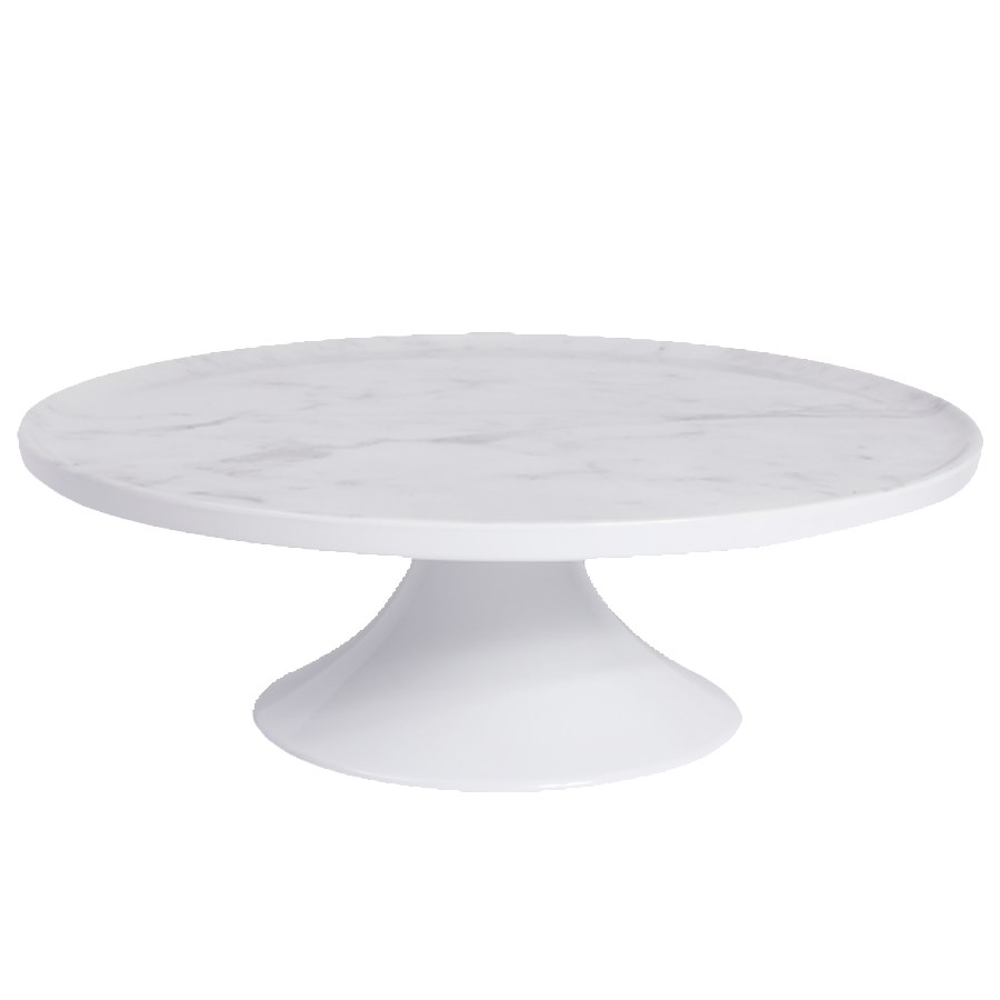 """Elite Global Solutions M12RPKT-C 12"""" Round Sierra Plate Stand - Melamine, Faux Carrera Marble"""