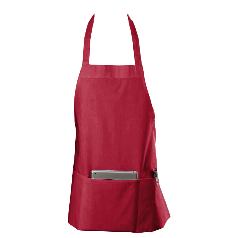 "Chef Revival 602BAFH-BG Bib Apron, Twill Blend, 25 x 27"", 3-Pocket, Burgundy"