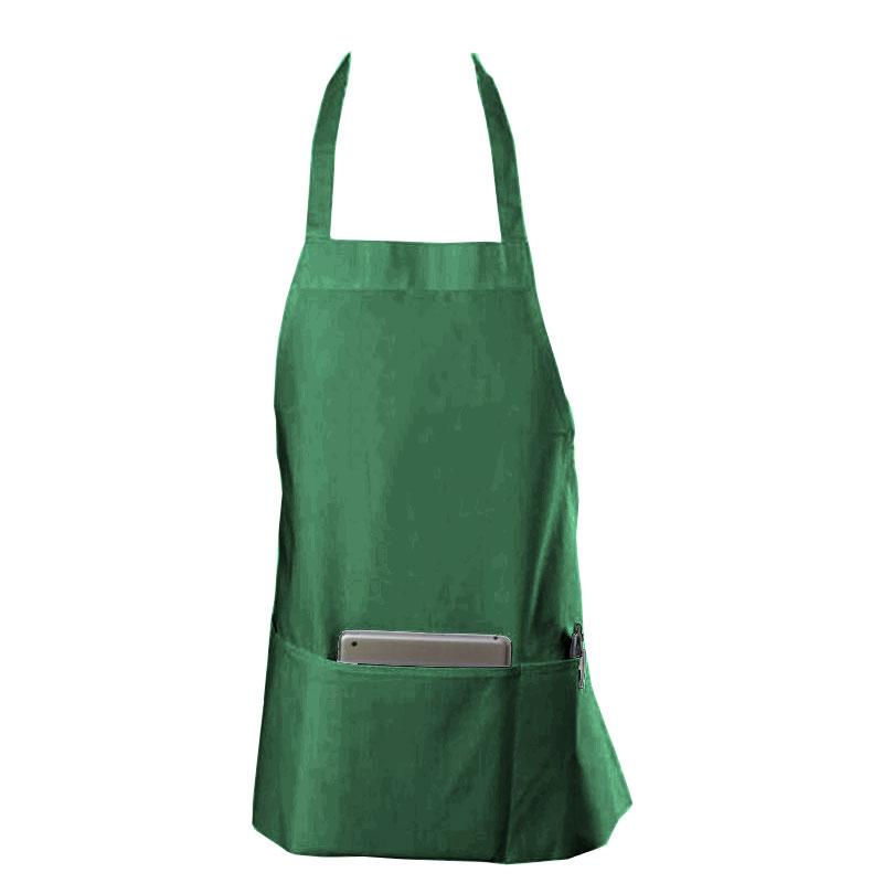 "Chef Revival 602BAFH-HG Bib Apron, Twill Blend, 25 x 27"", 3-Pocket, Hunter Green"