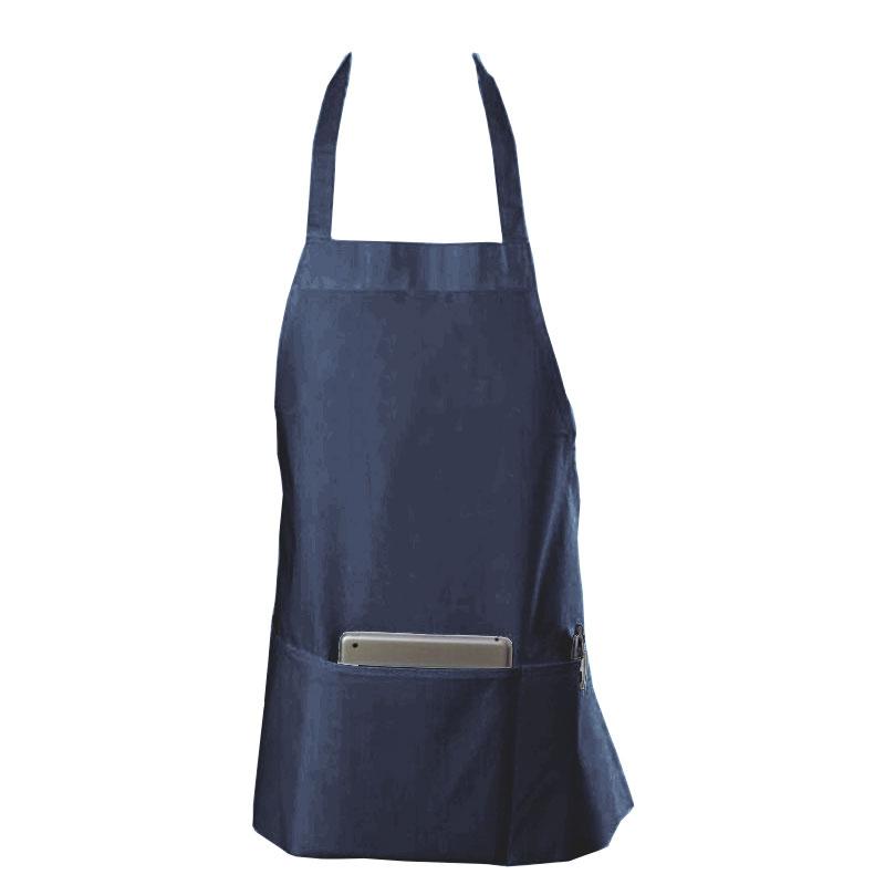 "Chef Revival 602BAFH-NV Bib Apron, Twill Blend, 25 x 27"", 3-Pocket, Navy Blue"