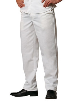 Chef Revival P201CPZ-32 Elastic Waist Cook Pant, Poly Cotton, Size 32, White