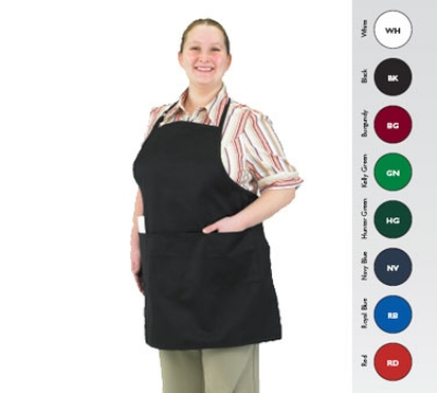 "Chef Revival 601BAO-3-GN Bib Apron, 3-Compartment Pocket, Twill Blend, 28 x 30"", Kelly Green"