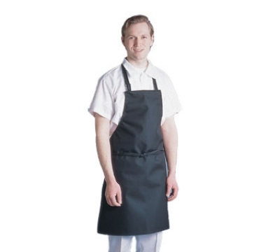 Chef Revival 601MAJ-BK Waterproof Bib Apron, Vinyl Backing, Fire Retardant, 30 x 34-in, Black