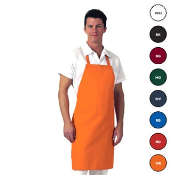 Chef Revival 601NP-OR Twill Bib Apron, 30 x 34-in, Orange