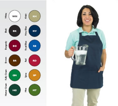 "Chef Revival 602BAFH-HG Bib Apron, Twill Blend, 25 x 27"", 3-Pocket, Hunter Green"