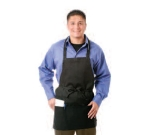 Chef Revival 602PS-BK Bib Apron, Polyspun, 28 x 27-in, 3-Lower Pockets, Black