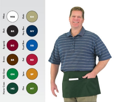Chef Revival 605WAFH-GN Waist Apron, Twill Blend, 12 x 24-in, 3-Pocket, Kelly Green