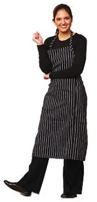 "Chef Revival 619BA-WS Cotton Pinstripe Bib Apron, 29 x 38"", White / Black"