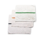 "Chef Revival 700BRT-GRS Cotton Striped Bar Towel, 16 x 19"", White w/ Green Stripe"