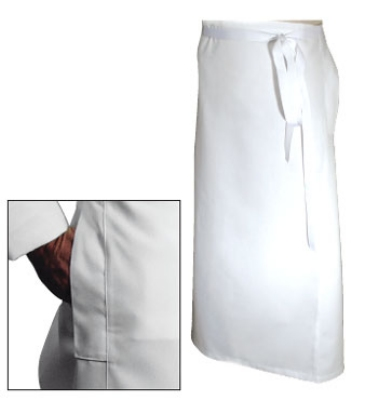 Chef Revival A004 Chef Bistro Waist Apron, 40 x 36-in, Poly Cotton, White