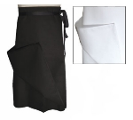 "Chef Revival A005 Chef Bistro Waist Apron, 30 x 30"", Poly Cotton Blend, 4-Way, White"