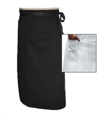 "Chef Revival A011BK Chef Bistro Waist Apron, 34 x 29"", Poly Cotton Blend, Black"