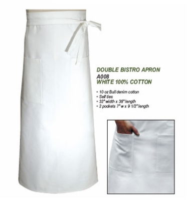 Chef Revival A008 Chef Bistro Waist Apron, 32 x 38-in, Cotton, White