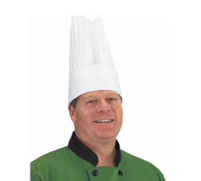"Chef Revival CHR12-V Flair Chef Hat, Viscose, Ventilation Holes, 12"", Adjustable, White"