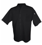 Chef Revival CS006BK-XS Poly Cotton Blend Cook Shirt, X-Small, Pocket, Short Sleeve, Black