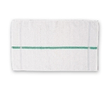 "Chef Revival HTI15GS Cotton Terry Oversized Bar Towel, 15 x 25"", White w/ Green Stripe"
