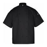 Chef Revival J005BK-M Poly Cotton Blend Chef Jacket, Short Sleeve, Medium, Black