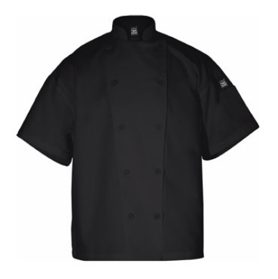 Chef Revival J005BK-L Poly Cotton Blend Chef Jacket, Short Sleeve, Large, Black
