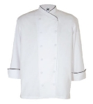 Chef Revival J008-M Poly Cotton Corporate Chef Jacket, Medium, Black Piping