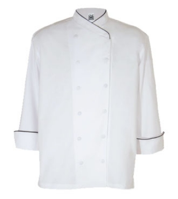Chef Revival J008-S Poly Cotton Corporate Chef Jacket, Small, Black Piping