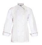 Chef Revival LJ008-L Ladies Poly Cotton Corporate Chef Jacket, Large, Black Piping