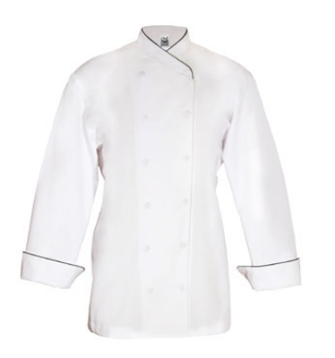 Chef Revival LJ008-XS Ladies Poly Cotton Corporate Chef Jacket, X-Small, Black Piping