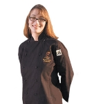Chef Revival LJ025BK-2X Ladies Poly Cotton Cuisinier Chef Jacket, 2X, Black