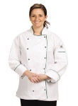 Chef Revival LJ044-2X Ladies Poly Cotton Brigade Chef Jacket, 2X, Black Piping
