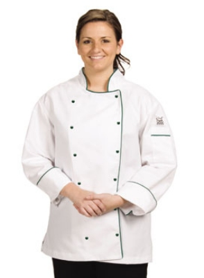 Chef Revival LJ044-XS Ladies Poly Cotton Brigade Chef Jacket, X-Small, Black Piping