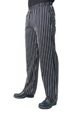 Chef Revival P016WS-L Cotton Chef Pants, Slim Fit, Large, Black/White Pinstripe