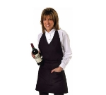 "Chef Revival VNA3840-BK Blended Twill Tuxedo V-Neck Apron, 30 x 40"", Pockets, Black"