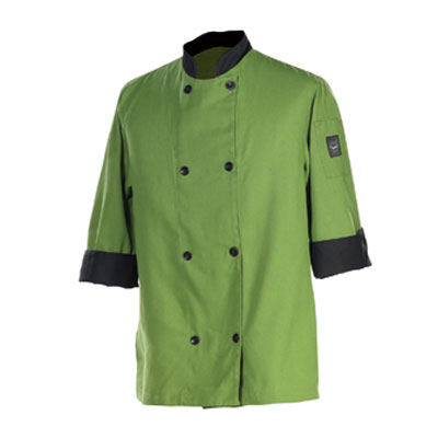 Chef Revival J134MT-M Chef's Jacket Size Medium, 3/4-Sleeve, Mint w/ Black Trim