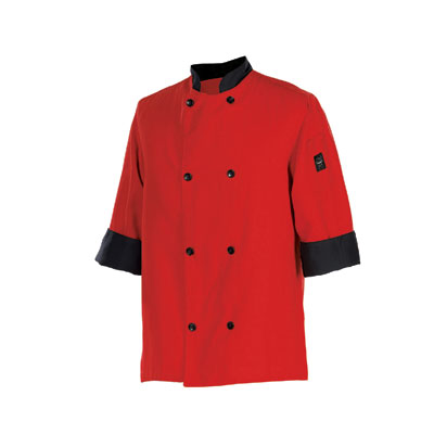 Chef Revival J134TM-XL Chef's Jacket Size Extra Large, 3/4-Sleeve, Tomato w/ Black Trim