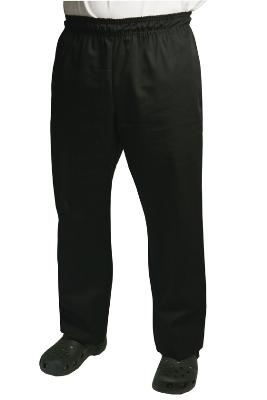 Chef Revival P020BK-M Chef Pants w/ 2-in Elastic Waist & 4-Pockets, Black, Medium