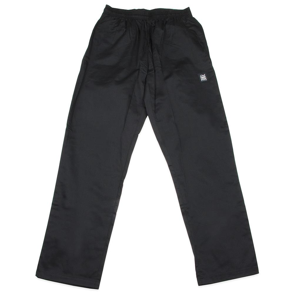 "Chef Revival P020BK-M Chef Pants w/ 2"" Elastic Waist & 4-Pockets, Black, Medium"