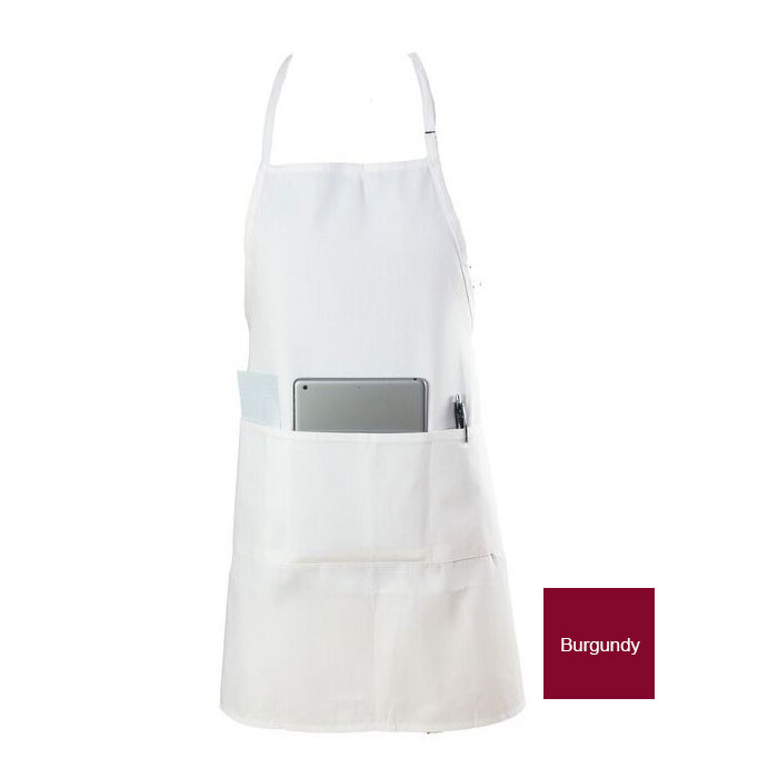 "Chef Revival 601BAO-3-BG Bib Apron, 3-Compartment Pocket, Twill Blend, 28 x 30"", Burgundy"